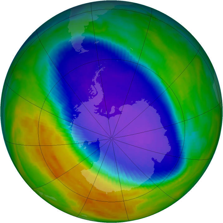 Antarctic ozone map for 05 October 1992