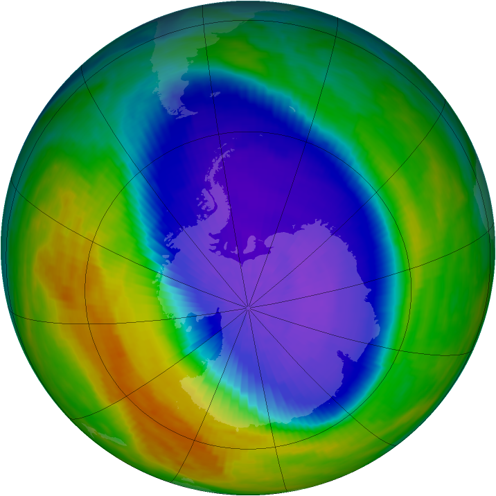 Antarctic ozone map for 06 October 1992
