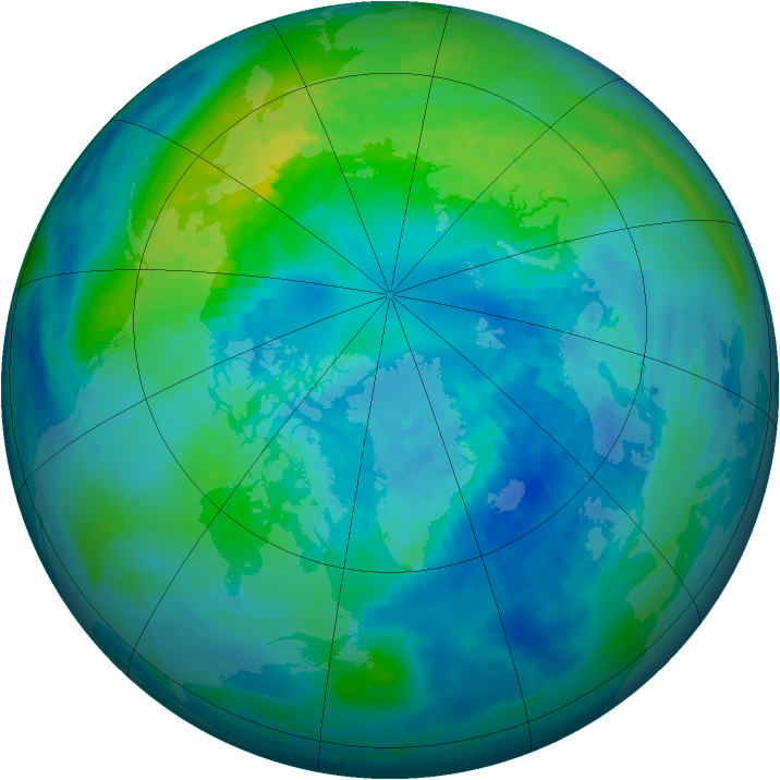 Arctic ozone map for 07 October 1992