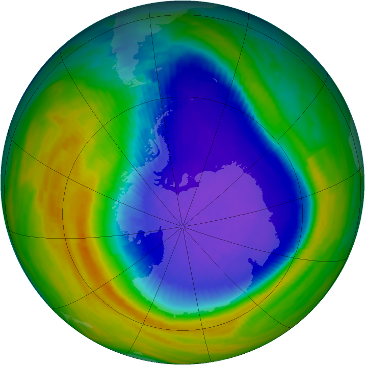 Antarctic ozone map for 08 October 1992