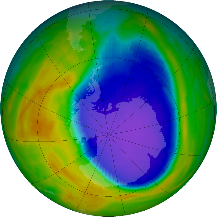 Antarctic ozone map for 10 October 1992