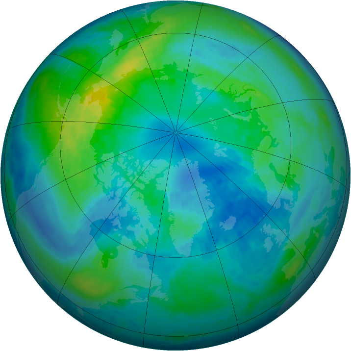 Arctic ozone map for 11 October 1992