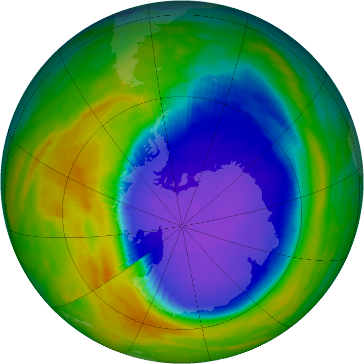 Antarctic ozone map for 11 October 1992