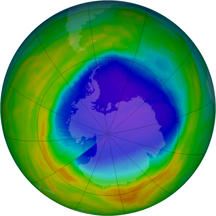 Antarctic ozone map for 13 October 1992