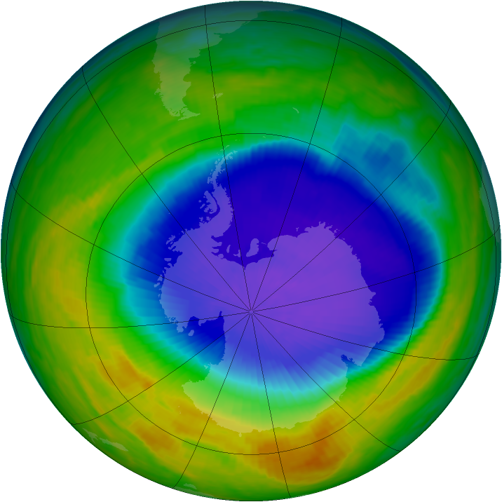 Antarctic ozone map for 15 October 1992