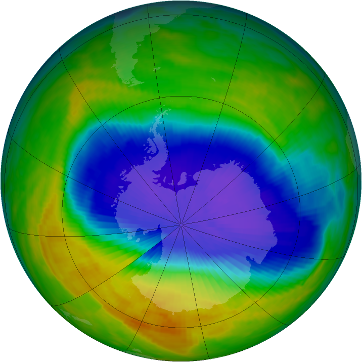 Antarctic ozone map for 17 October 1992