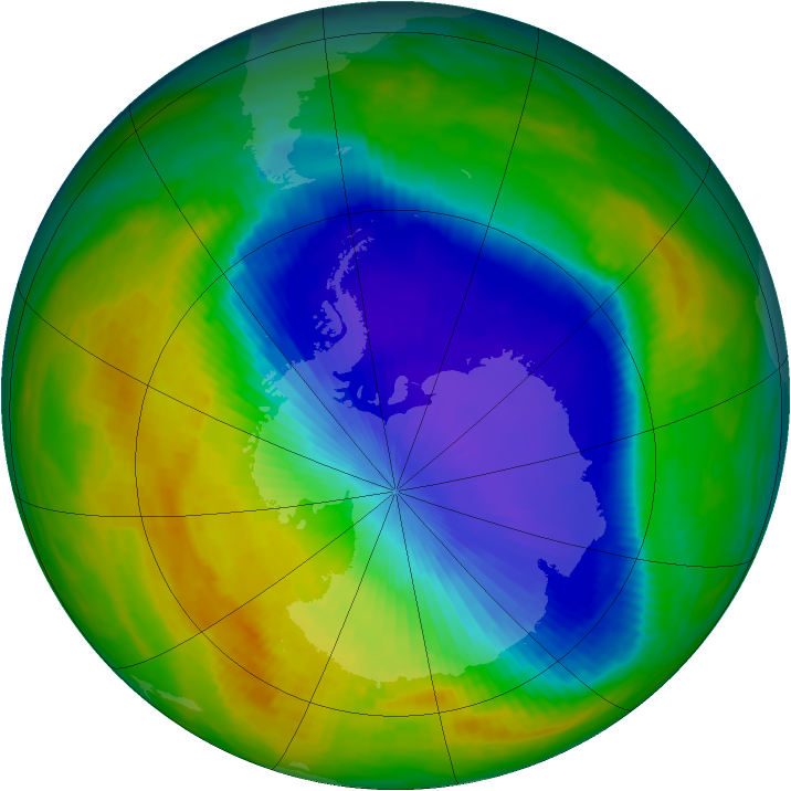 Antarctic ozone map for 20 October 1992