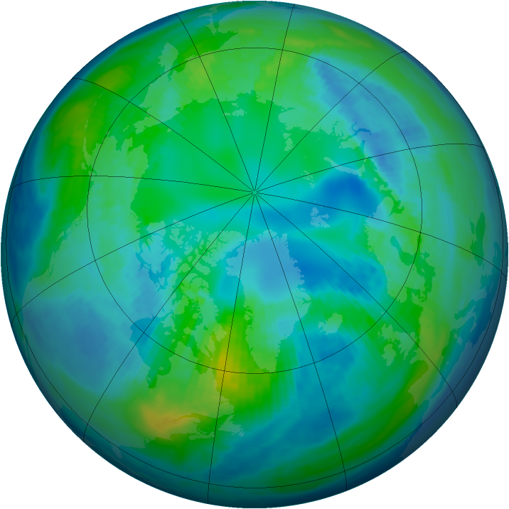 Arctic ozone map for 21 October 1992