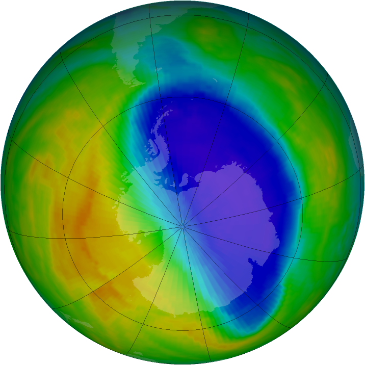 Antarctic ozone map for 21 October 1992