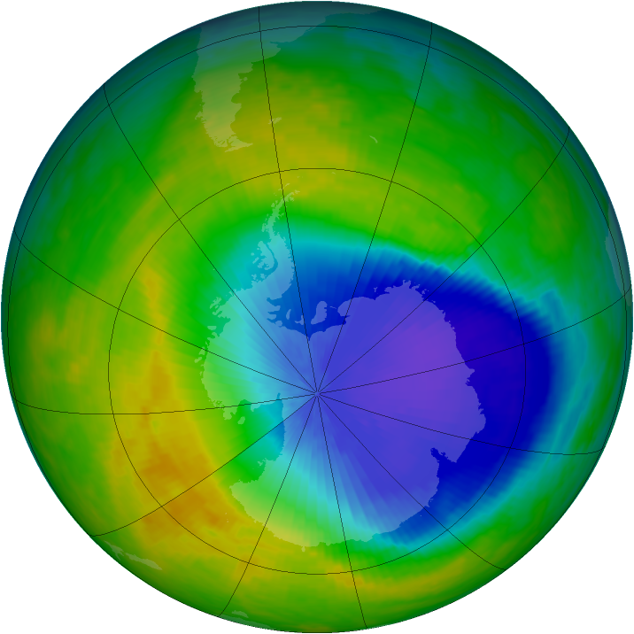 Antarctic ozone map for 27 October 1992