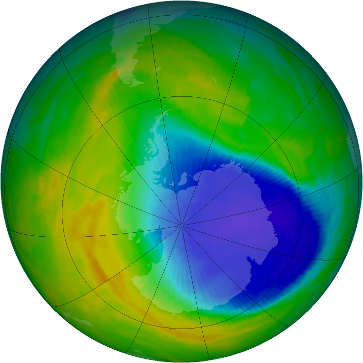 Antarctic ozone map for 28 October 1992