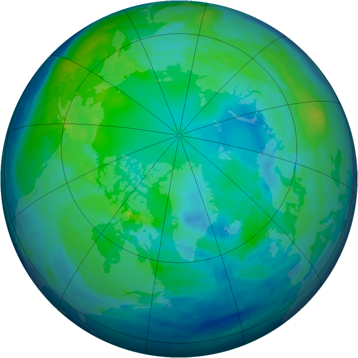 Arctic ozone map for 29 October 1992