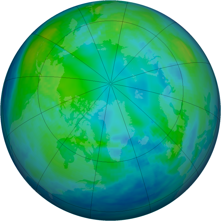 Arctic ozone map for 30 October 1992