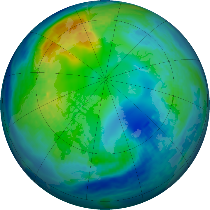 Arctic ozone map for 08 November 1992