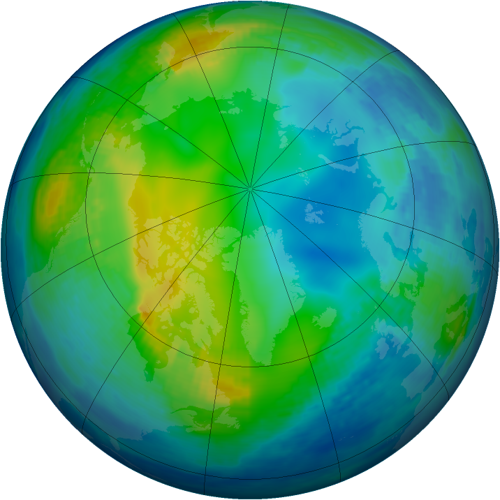 Arctic ozone map for 18 November 1992