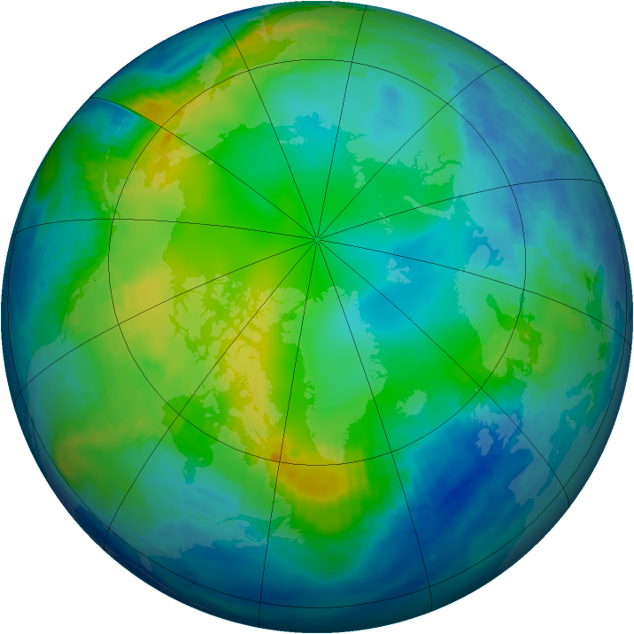 Arctic ozone map for 21 November 1992