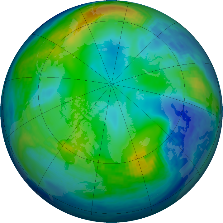 Arctic ozone map for 24 November 1992