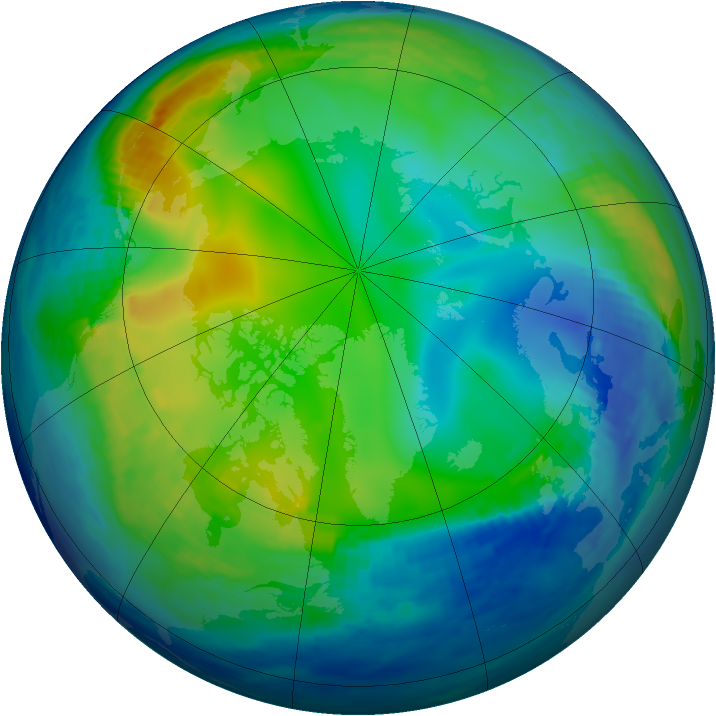 Arctic ozone map for 01 December 1992