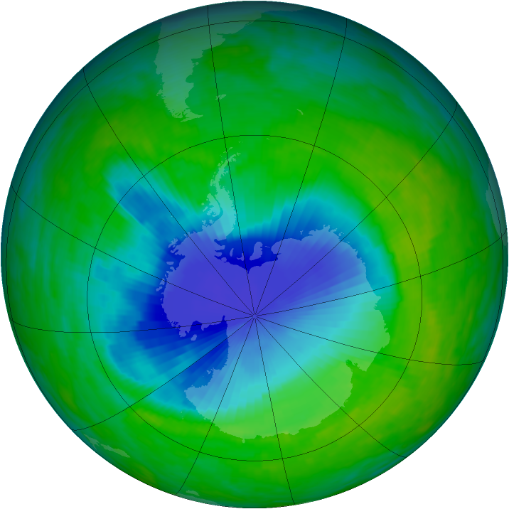 Antarctic ozone map for 01 December 1992