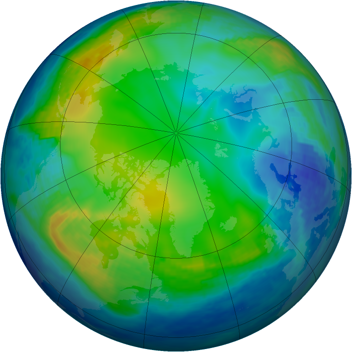 Arctic ozone map for 03 December 1992