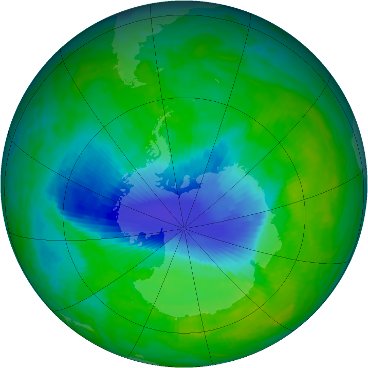 Antarctic ozone map for 03 December 1992