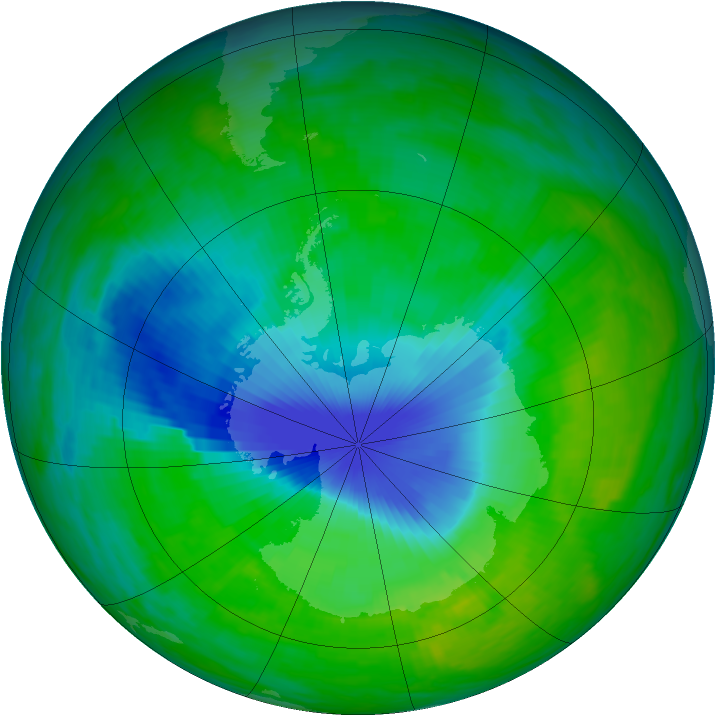 Antarctic ozone map for 04 December 1992