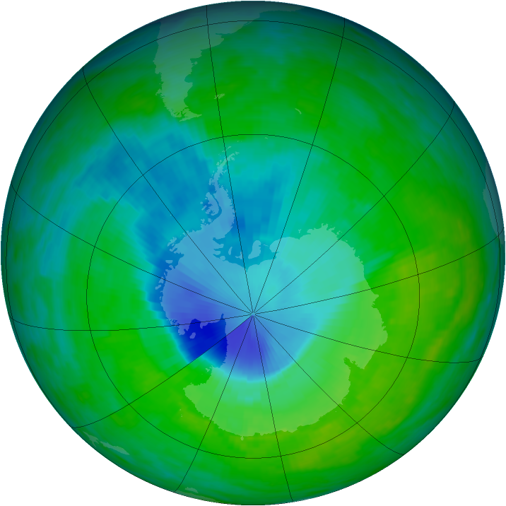 Antarctic ozone map for 06 December 1992