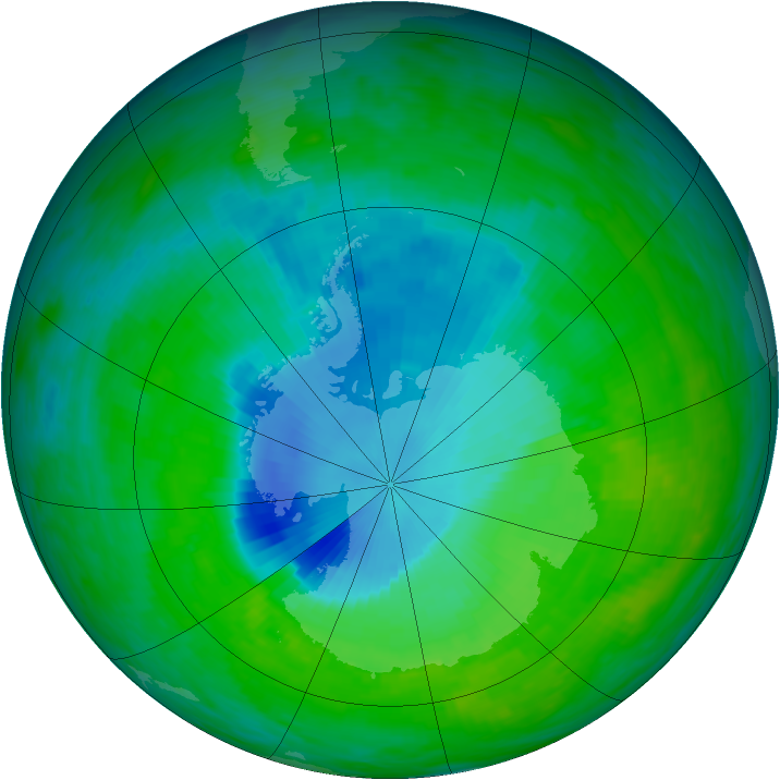 Antarctic ozone map for 07 December 1992