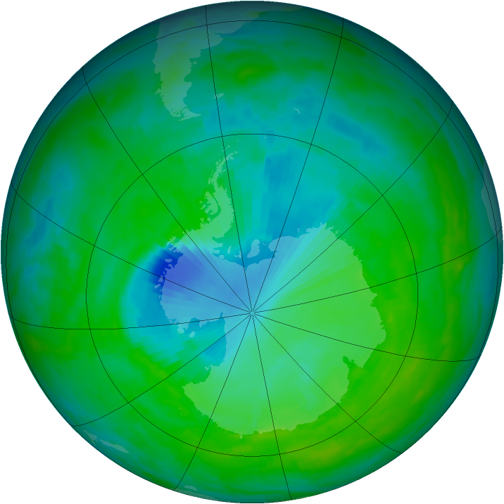 Antarctic ozone map for 09 December 1992