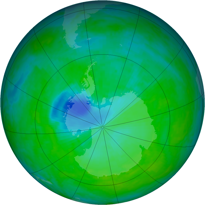 Antarctic ozone map for 10 December 1992