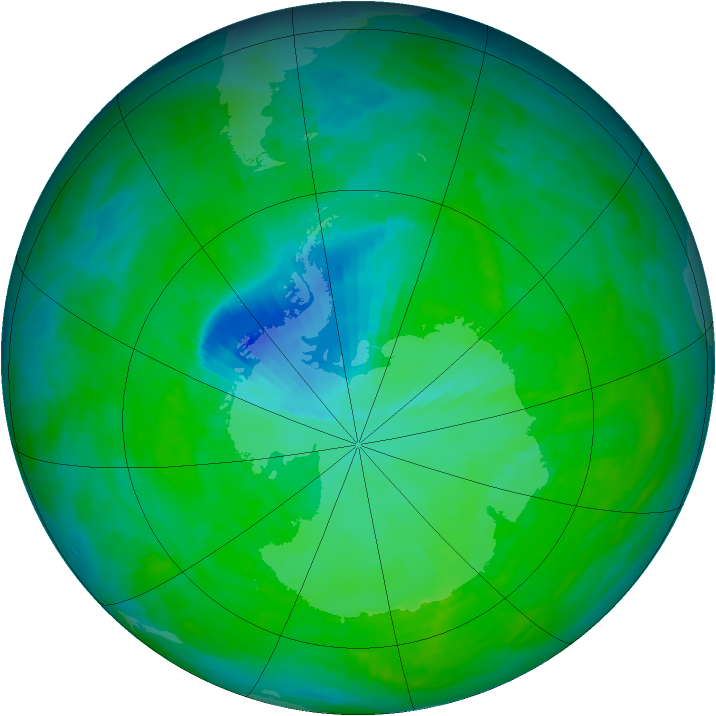 Antarctic ozone map for 12 December 1992