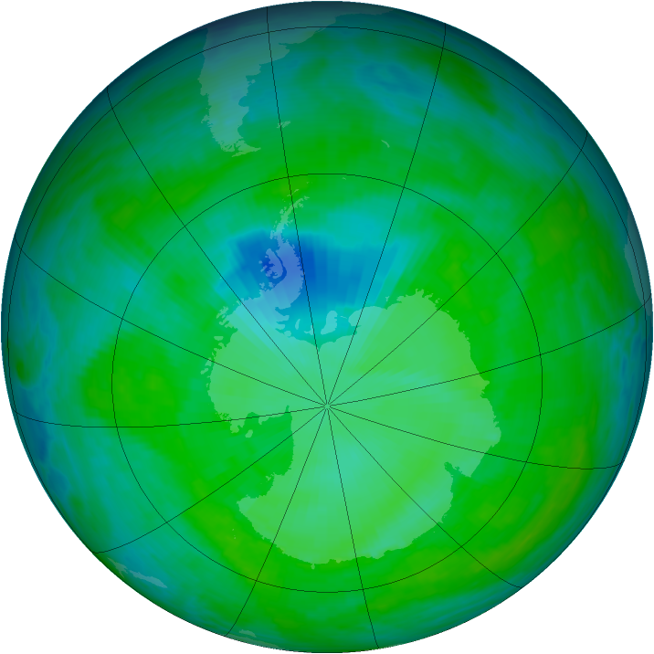 Antarctic ozone map for 14 December 1992