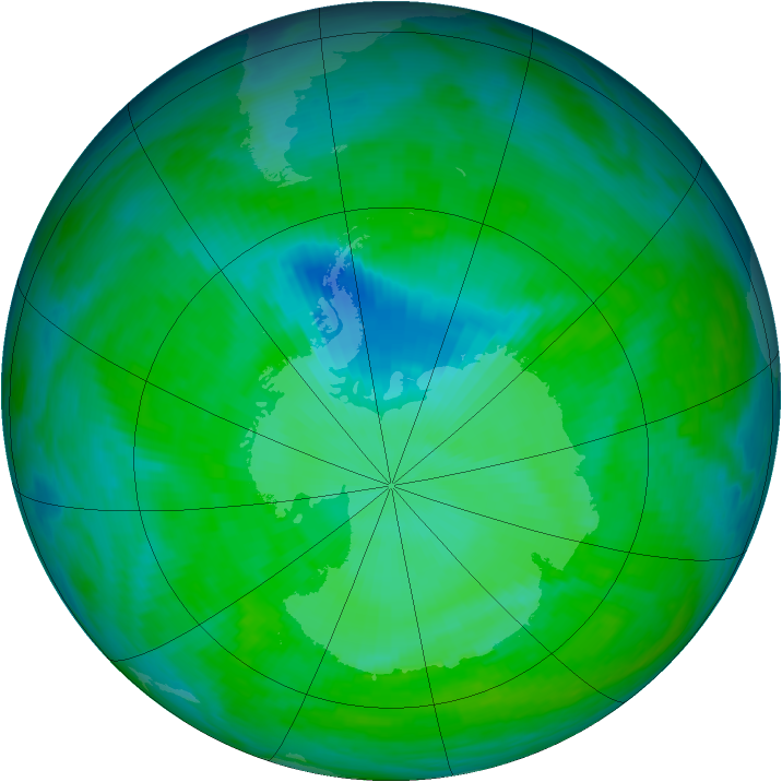 Antarctic ozone map for 15 December 1992