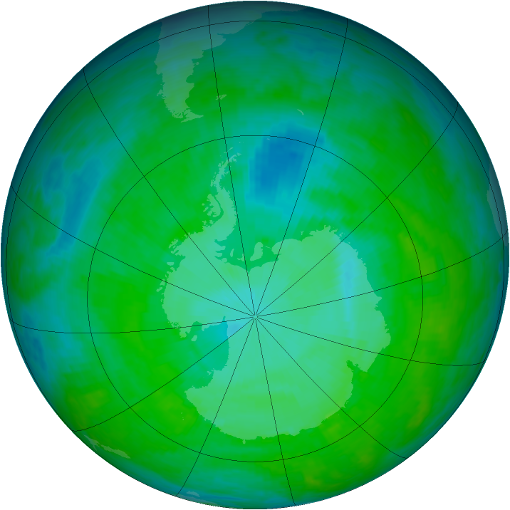 Antarctic ozone map for 18 December 1992