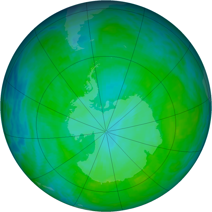 Antarctic ozone map for 21 December 1992