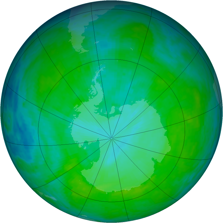 Antarctic ozone map for 22 December 1992
