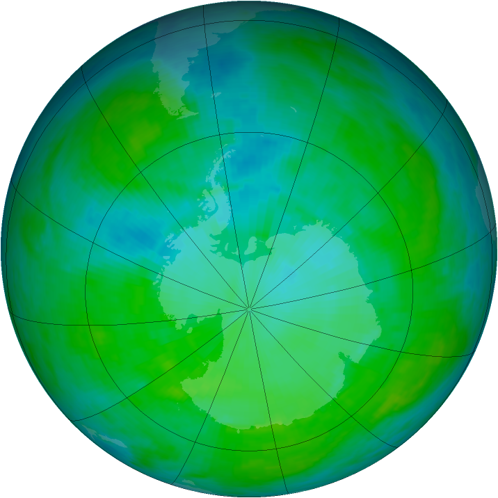 Antarctic ozone map for 26 December 1992