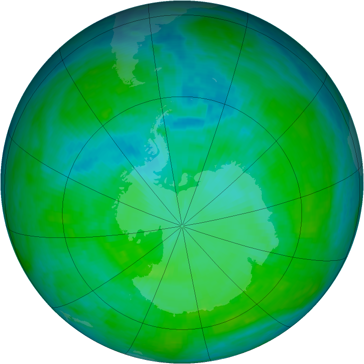 Antarctic ozone map for 27 December 1992