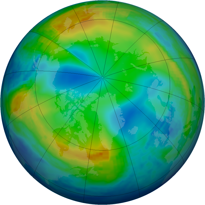 Arctic ozone map for 28 December 1992