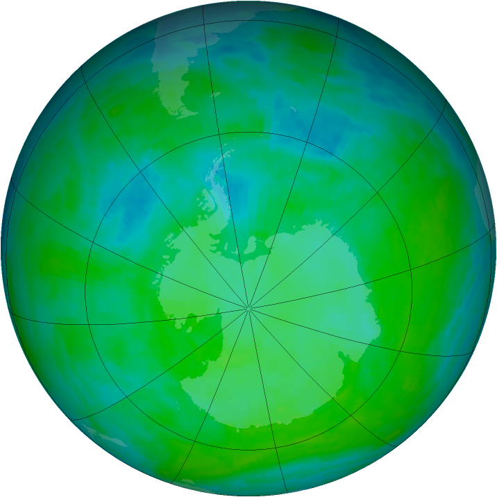 Antarctic ozone map for 28 December 1992