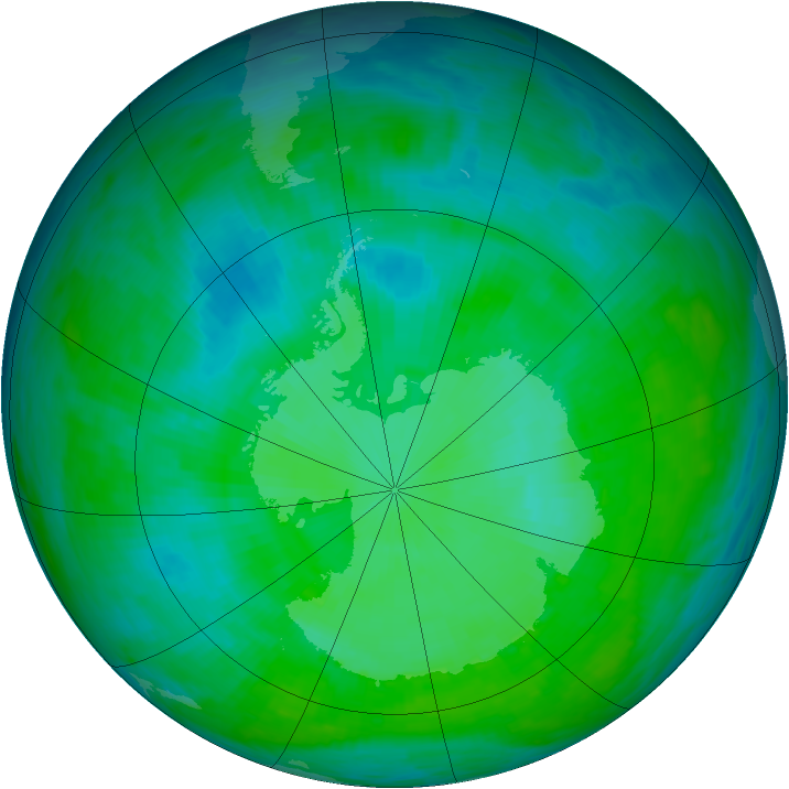 Antarctic ozone map for 29 December 1992