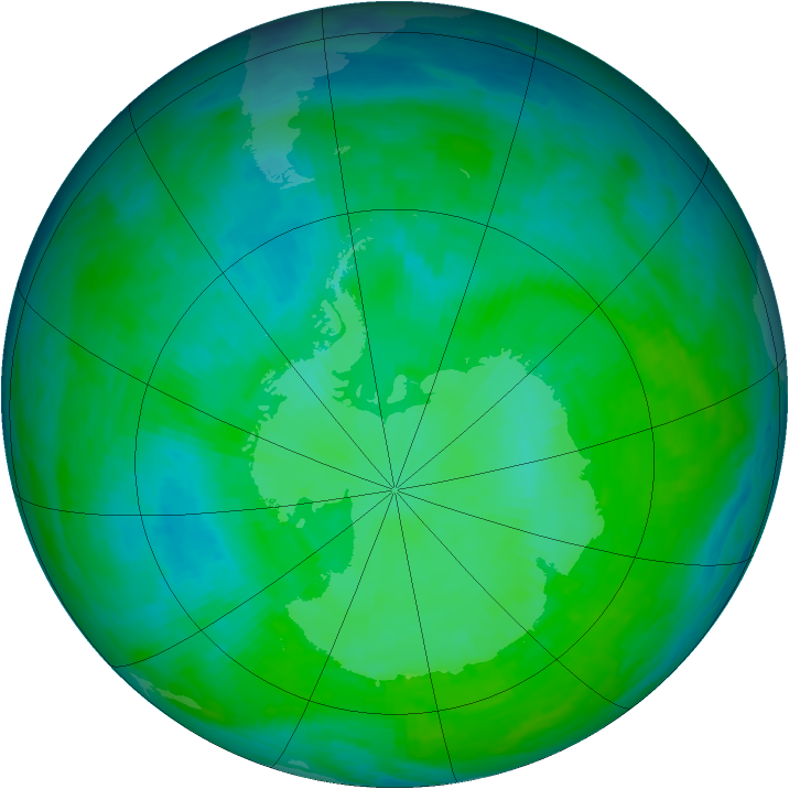 Antarctic ozone map for 30 December 1992