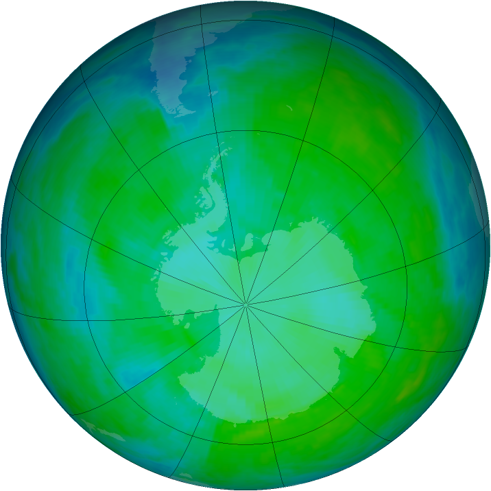 Antarctic ozone map for 03 January 1993