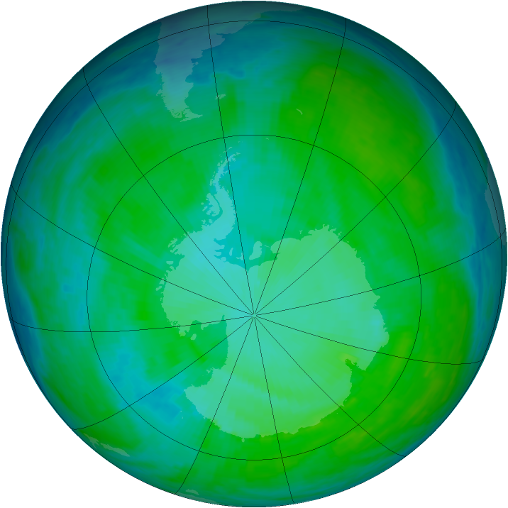 Antarctic ozone map for 04 January 1993