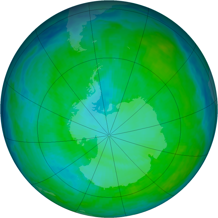 Antarctic ozone map for 05 January 1993