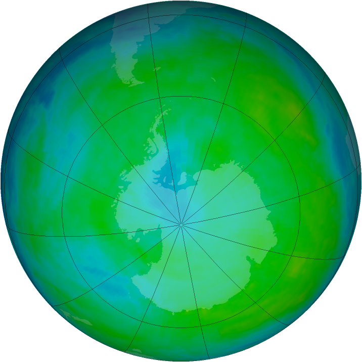 Antarctic ozone map for 06 January 1993