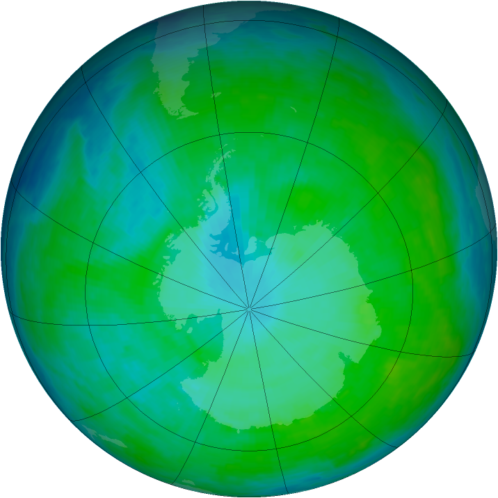 Antarctic ozone map for 07 January 1993