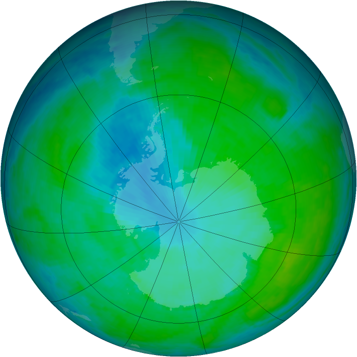 Antarctic ozone map for 10 January 1993