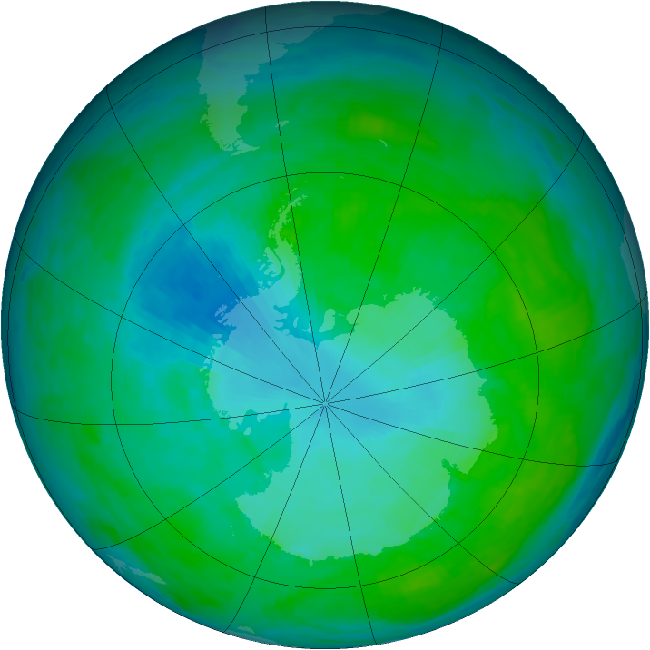 Antarctic ozone map for 12 January 1993
