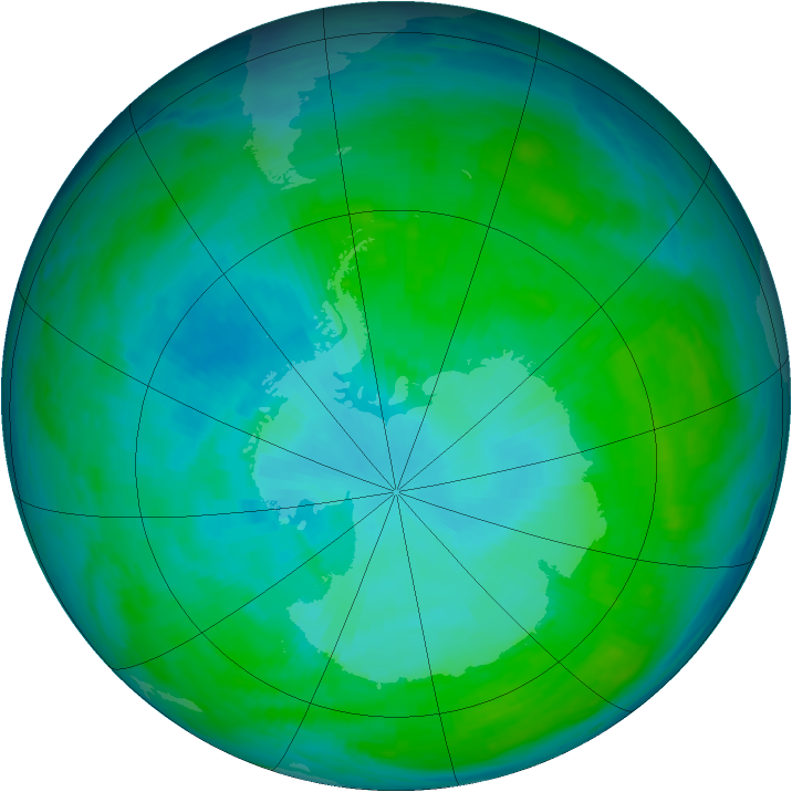 Antarctic ozone map for 13 January 1993